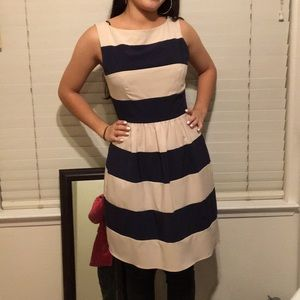 Sleeveless striped dress navy blue and tan